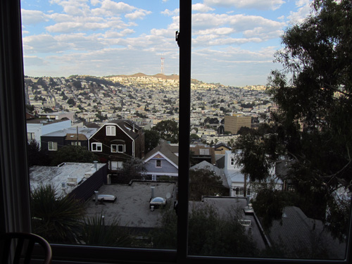 View above my computer screen at the Bernal Heights house-sitting gig in San Francisco. Yes, I did spend significant time staring when I should have been writing.