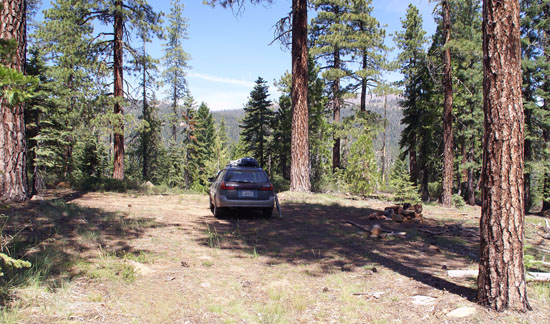 My writing campsite in the mountains west of Mount Shasta.