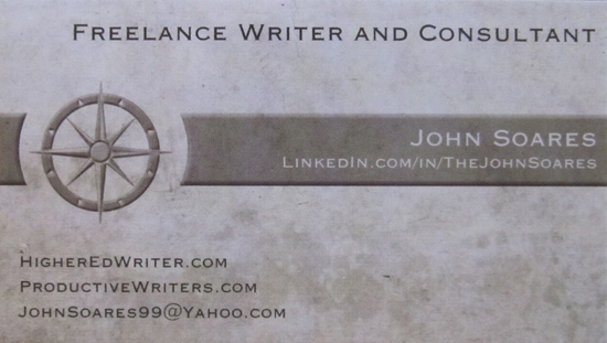 My new freelance writer business card productive writers for Freelance business cards