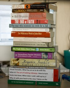 Stack of books to donate