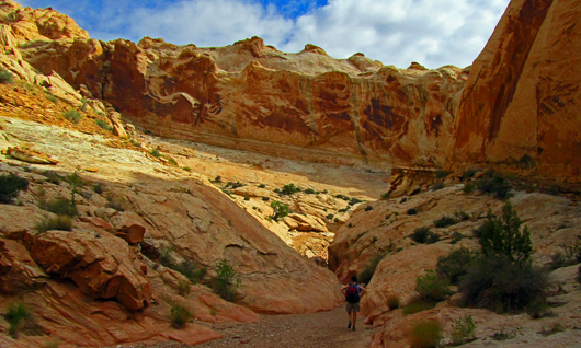 Stephanie entering Bell Canyon in Utah's San Rafael Swell.