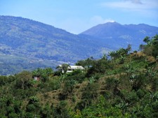 Irazu volcano eruption, viewed from above Orosi