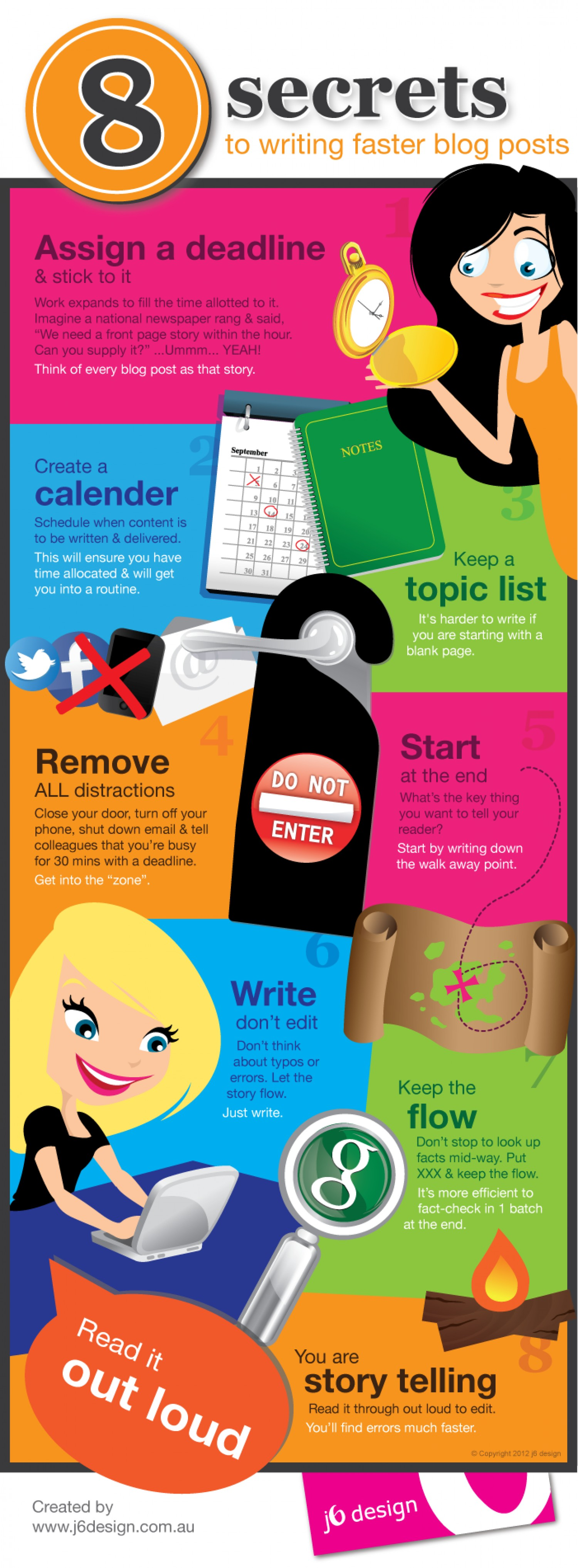 8 Simple Steps to Writing Faster. Courtesy Visual.ly