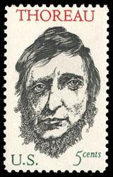 Henry David Thoreau United States postage stamp, five cents, 1967.
